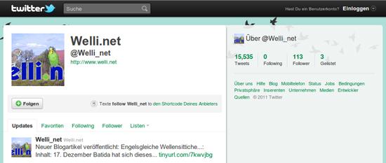 Welli.net bei Twitter